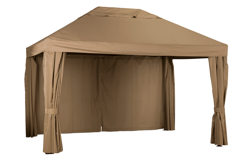 Gazebo for hot tub shown with drapes unfurled