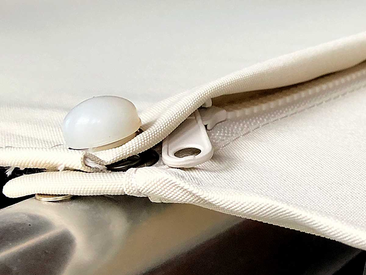Detail of sunbrella farbic with zipper and button