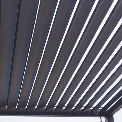 Louvered pergola in the closed position