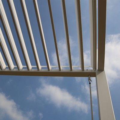 Louvered pergola in the open position
