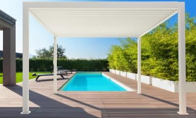 Louvered pergola in pool area