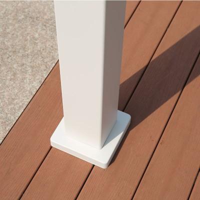 Louvered pergola feet installed on deck