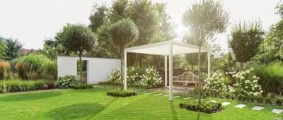 Louvered pergola in garden